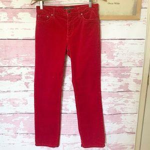 LAUREN RALPH LAUREN Red Corduroy Petite Pants 6P